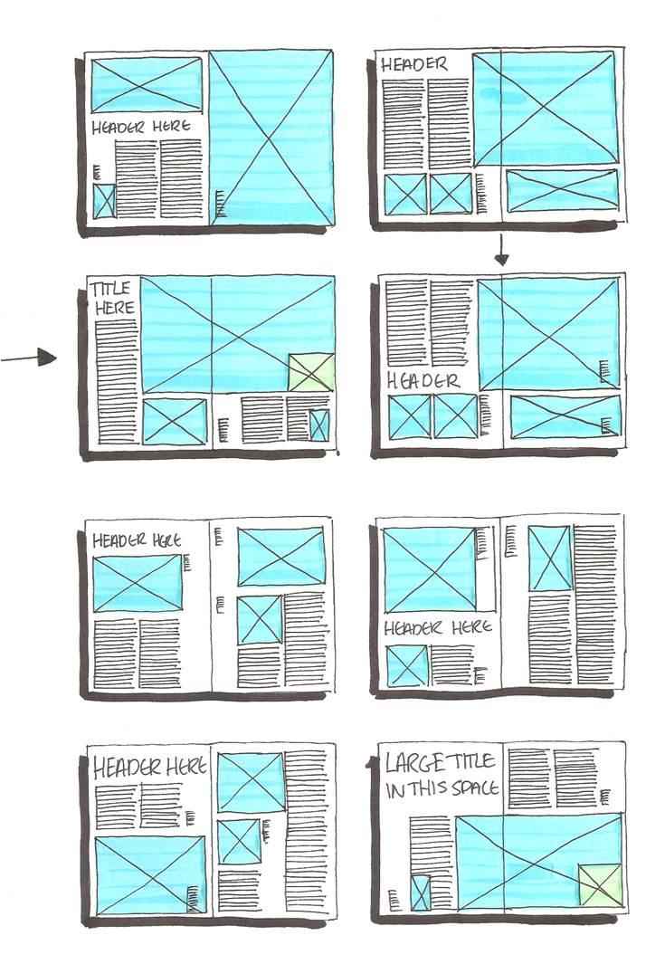 Grid layout sketches on pinterest magazine layouts for Magazine design ideas